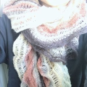 Rouched multi- brown tone scarf